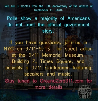 Ground Zero Coalition Plans Street Action for 13th 9/11 Anniversary
