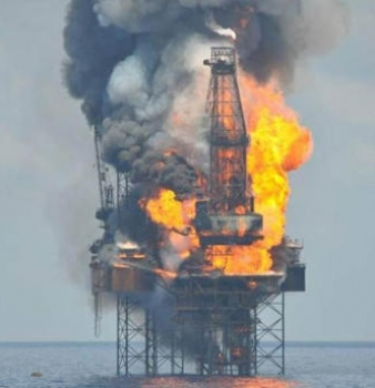 Oil rig catches fire off the coast of Louisiana
